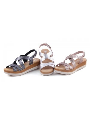 Sandale din piele naturala Metalic