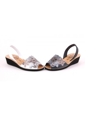 Sandale din piele naturala ,AVARCA FLOWER WEGE
