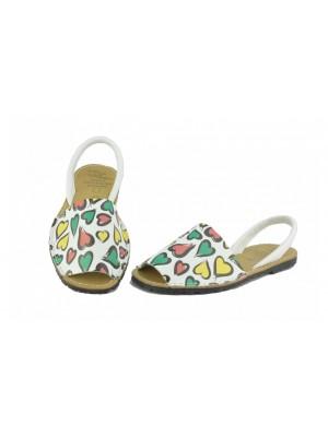 Sandale din piele naturala , Avarca Colored Hearts