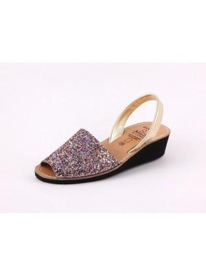 Sandale din piele naturala , AVARCA WEGE GLITTER